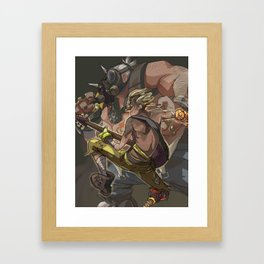Death Growls and Punching The Guitar Framed Art Print
