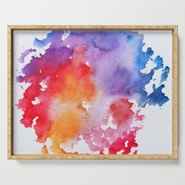 Vivid - abstract painting with pink, purple, red, orange, blue colors that pop Serving Tray