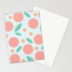 Geometric Peach Bouquet with Leaves Stationery Cards