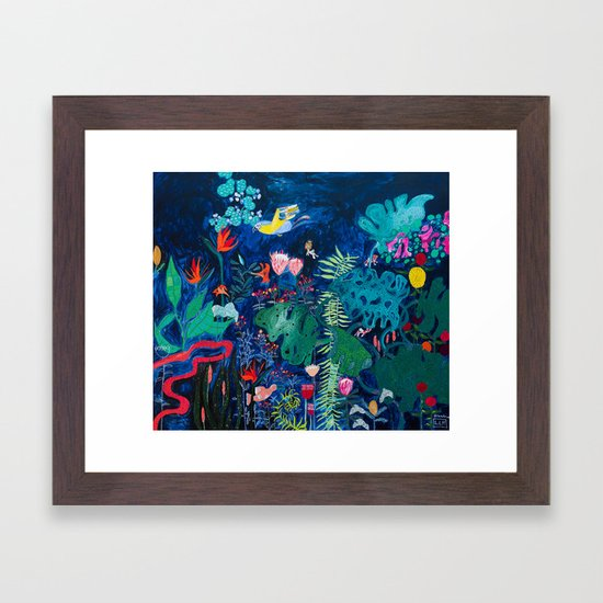 Brightly Rainbow Tropical Jungle Mural with Birds and Tiny Big Cats by larameintjes