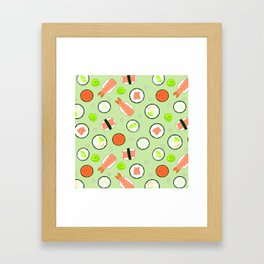 Cute Sushi Pattern Green  Framed Art Print