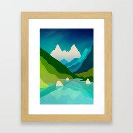 High mountain peaks over lake Framed Art Print