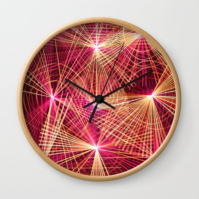 Raspberry Supernovae Geometric Abstract Wall Clock