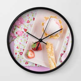 Strawberry ice cream Wall Clock