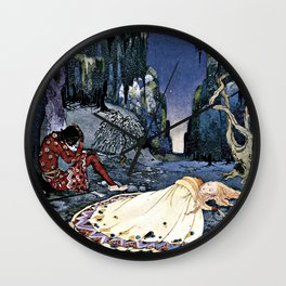 French Fairy Tales Illustration Wall Clock