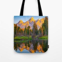 Grand Teton National Park Sunrise Reflection Print Tote Bag