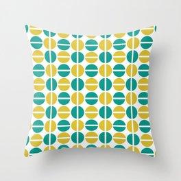 Geometric Circles (teal/mustard) Throw Pillow