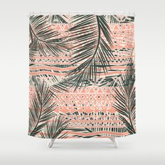 Tropical Aztec |  Coral Abstract Aztec Tropical Palm Leaf Pattern Shower Curtain