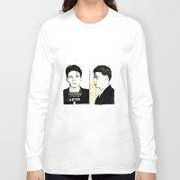 frank sinatra Long Sleeve T-shirts featuring Frank Sinatra Mug Shot by Lauren Randalls ART