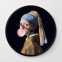 Girl with a bubble gum Wall Clock
