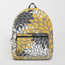 Modern Elegant Chic Floral Pattern, Soft Yellow, Gray, White Backpack