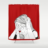 introvert Shower Curtains featuring Introvert 3 by Heidi Banford