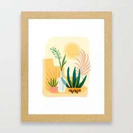Sunshine Terrace - landscape illustration Framed Art Print