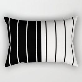 Two Tone Stripes - Black and White Rectangular Pillow