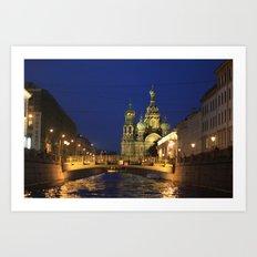 Saint Petersburg Russia Night Art Print