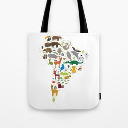 South America sloth anteater toucan lama bat fur seal armadillo boa manatee monkey dolphin Tote Bag