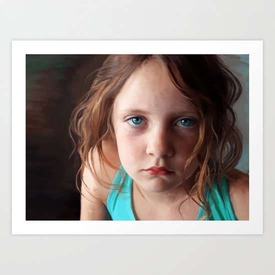 Portrait - the day she was sick and didn't want to smile Art Print