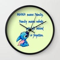 lilo and stitch Wall Clocks featuring Lilo & Stitch - Ohana Quote by MarcoMellark