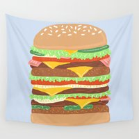 burger Wall Tapestries featuring BURGER by Hannah Bailey