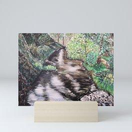 RIVER VIEW IN WONDERLAND - Original Fine art painting by HSIN LIN / HSIN LIN ART Mini Art Print