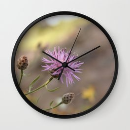 Purple Flowers Vintage on the Beach Wall Clock