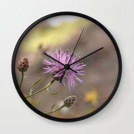 Purple Flowers Vintage on the Beach Wall Clock