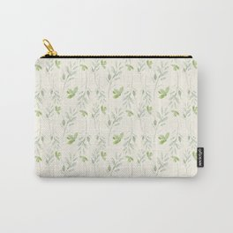 Hand painted watercolor pastel green ivory leaves floral Carry-All Pouch