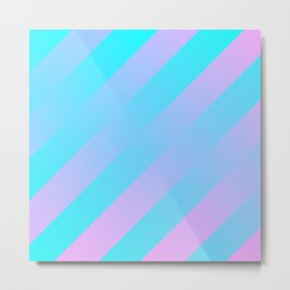 Stripes Diagonal Gradient Aqua & Pink Metal Print