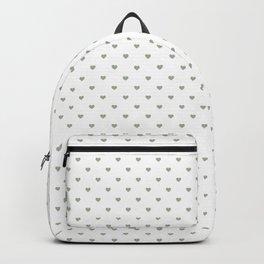 Desert Sage Grey Green Polka Dot Hearts on White Backpack
