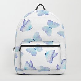 Lilac aqua blue watercolor hand painted butterfly Backpack