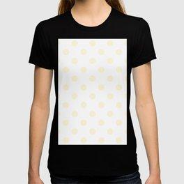 Polka Dots - Cornsilk Yellow on White T-shirt