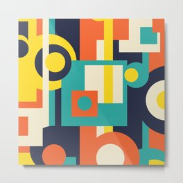 Funky Geometry (Modern Vibrant Color Palette) Metal Print
