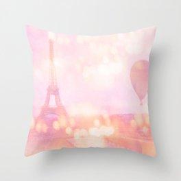 Shabby Chic Pink Eiffel Tower Hot Air Balloon Throw Pillow