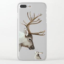 Reindeer and rabbit Clear iPhone Case