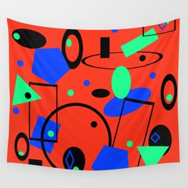 Retro abstract red print Wall Tapestry