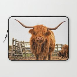 Highland Cow in a Fence Laptop Sleeve