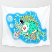 steam punk Wall Tapestries featuring Whimsical Steam Punk Fish by J&C Creations