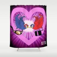 wrestling Shower Curtains featuring Wrestling love Birds  by Los Espada Art