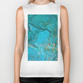 Fluid Nature - Malachite Flows - Acrylic Pour Art Biker Tank