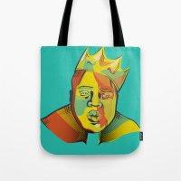 biggie Tote Bags featuring Biggie by Monica O