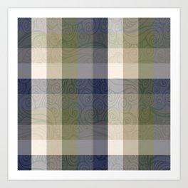 Chambray Fiord Swirly Plaid Art Print