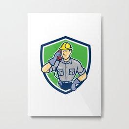 Telephone Repairman Phone Shield Cartoon  Metal Print