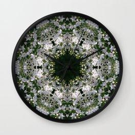 Botanical lace, white lilac mandala /kaleidoscope Wall Clock