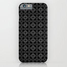 Dark Black and White Interlocking Square Pattern iPhone Case