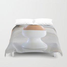Boiled egg in white. Duvet Cover