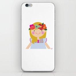 Flower crown girl iPhone Skin
