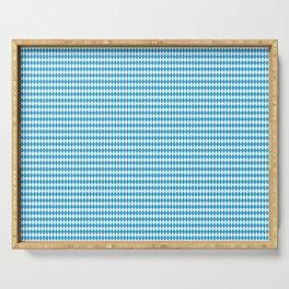 Oktoberfest Bavarian Blue and White Small Diagonal Diamond Pattern Serving Tray