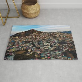 Colored Houses of Shimla, India with Blue Sky Landscape by Jeanpaul Ferro Rug