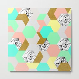 Marble and color hexagon Metal Print