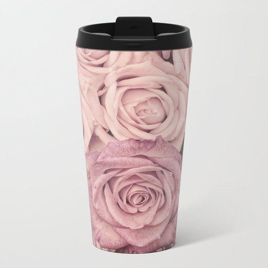 Some people grumble - Pink rose pattern- roses Metal Travel Mug